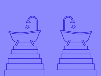 Graphic with two bathtubs on pedestals and a leaf dropping from the faucets