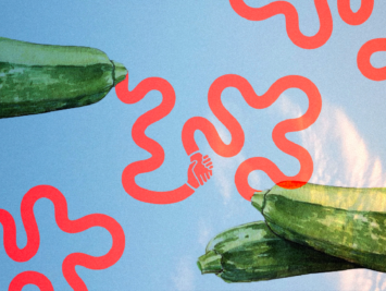 Graphic with zucchini and red squiggly lines. Illustration by Laura Padilla Castellanos