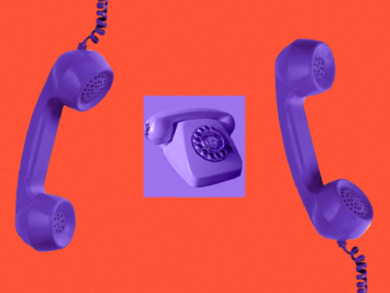 Graphic with purple telephones on a red background. Illustration by Laura Padilla Castellanos