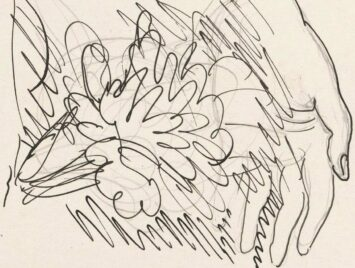 Detail from Leo Gestel, Sketch with hand and flowers, 1891–1941, Rijksmuseum