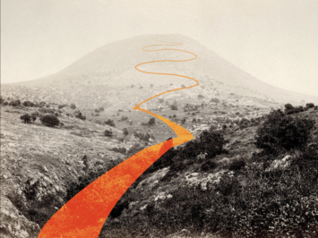 A sepia landscape with a mountain in the background and orange path through valley. Illustration by Laura Padilla Castellanos