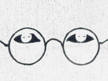 drawing of eyes and glasses