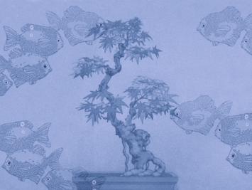 Graphic with bonsai and goldfish. Illustration by Laura Padilla Castellanos