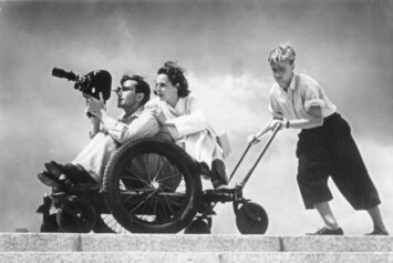 A photograph of Leni Riefenstahl during filming, 1936.
