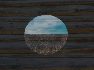 A view of a landscape through a circular opening. Illustration by NP Sullo