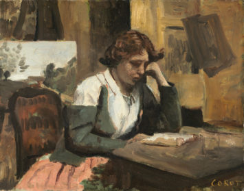 A painting of a woman reading at a table.