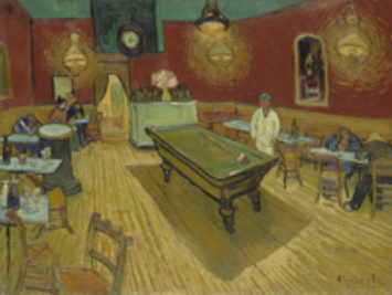 Men play pool in a bar at night. The Night Cafe by Vincent Van Gogh, 1888.