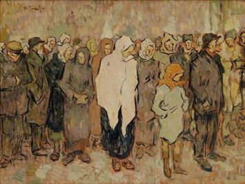 A painting of a bread line