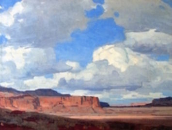 Desert Sky by Edgar Payne, 1930. A landscape painting of a desert and blue, cloudy sky.