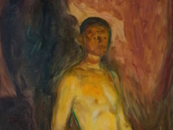 A self-portrait of Edvard Munch. Self-Portrait in Hell by Edvard Munch, 1903.