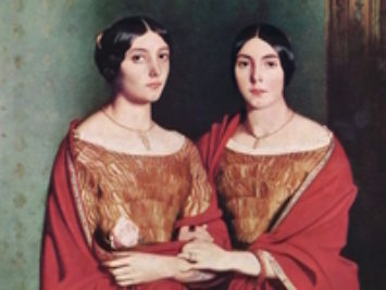 A painting of two sisters. The Two Sisters by Théodore Chassériau, 1843.