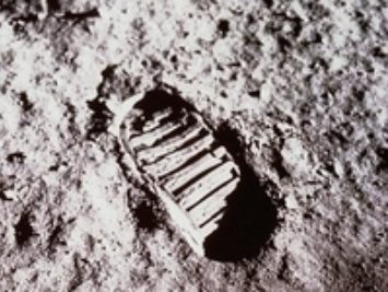 A footprint in the ground.