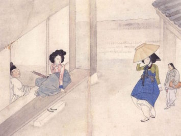 A painting of four Koreans by Shin Yun-Bok.