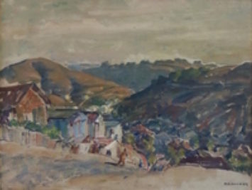 A painting of a hillside. Los Angeles hills by Mischa Askenazy, 1888-1961.