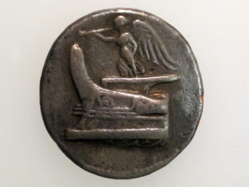 Silver tetradrachm of Demetrios Poliorketes 300–294 BC. From the Metropolitan Museum of Art in New York.