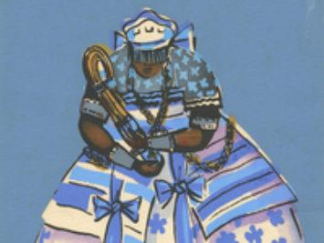 A woman playing an instrument.  Nana Buluku an Orisha of Candomblé / Creative Commons