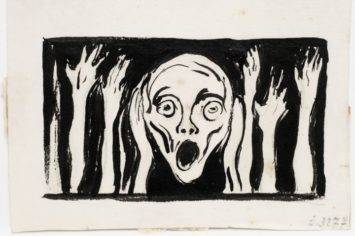 A detail of a screaming face