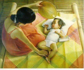 """Nestor Leynes, Mag-ina sa Banig (""""Mother and Child on a Sleeping Mat""""), 1960"""