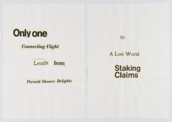 """collaged words on white background read in part """"only one connecting flight leads from perseid shower delights to a lost..."""""""