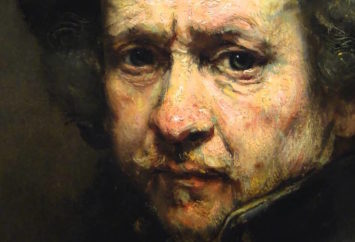 Rembrandt van Rijn, detail from Self Portrait with Beret and Turned-Up Collar, 1659