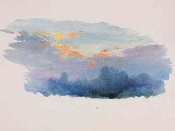 Watercolor of sunset. George Elbert Burr. Courtesy The Smithsonian.