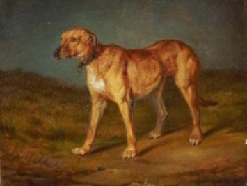 A painting of a dog. Rhodesian Ridgeback by Carl Friedrich Schulz.