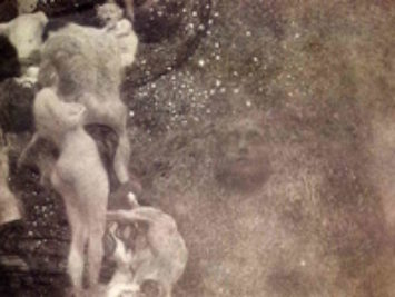 A shadow of a face underneath water. Philosophy by Gustav Klimt, 1907.