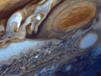 Photo of Jupiter from Voyager 1, 1979.