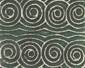 A swirling pattern on green background