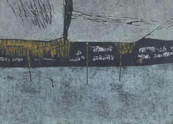 Abstract on grey background. Detail from Ono Tadashige, Kita no umi, 1974. Courtesy Rijksmuseum, Amsterdam.
