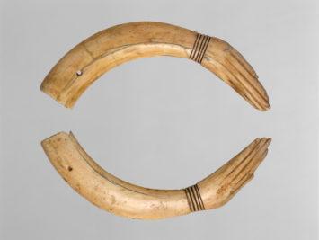 Image: Pair of Clappers, ca. 1353–1336 B.C., Hippopotamus ivory. From the Metropolitan Museum of Art in New York.