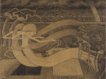 Ghostly personified Death over grave. Jan Toorop, O Grave, where is thy Victory?, 1892. Courtesy Rijksmuseum, Amsterdam.