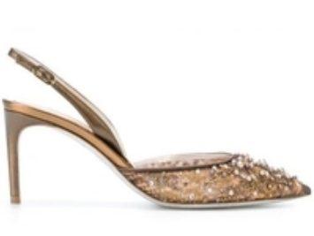 A high-heeled shoe.