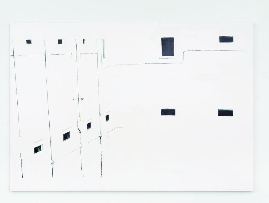 Painting of a building in white with gray windows