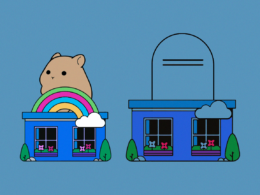 Graphic with a hamster atop one house and a gravestone atop another.